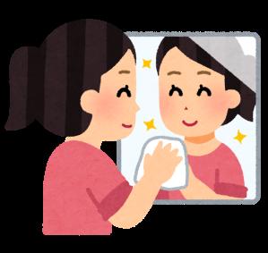 鏡の水垢の掃除のイラスト
